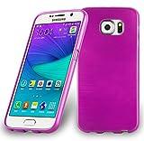 Cadorabo Hülle für Samsung Galaxy S6 - Hülle in PINK – Handyhülle aus TPU Silikon in gebürsteter Edelstahloptik (Brushed) Silikonhülle Schutzhülle Soft Back Cover Case Bumper