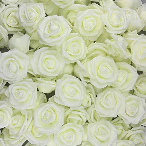 U'Artlines 50 Stück Künstliche Blumen Echt Aussehende Fake Roses W/Vorbau für DIY Hochzeit Blumensträuße Aufsteller Party Baby Dusche Home Office Shop Hotel Supermarkt Dekorationen (Weiß)