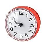 Wasserdichte Dusche Uhr mit Saugnapf Runden Arabischen Digitalen Zifferblatt für Bad Dusche Uhr Bad Küche Zubehör Banduhr Wandmontage(rot)