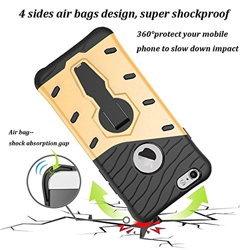 iPhone 6S Plus Case, Kickstand Hybrid Dual Layer Hard Cover + Soft Silikon Shockproof Drop Proof Rugged High Impact Protective Case Cover for iPhone 6S Plus/6PLUS–Black goldfarben