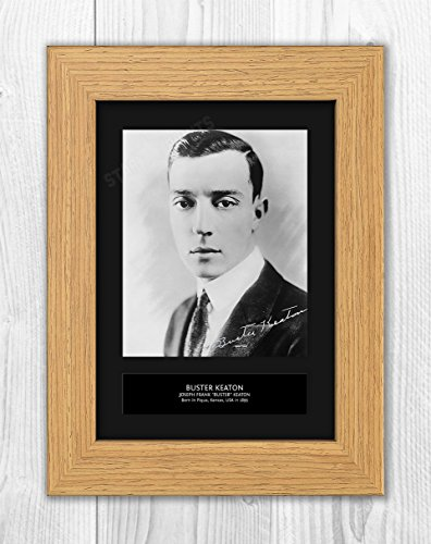 Star Prints UK Buster Keaton MT1 Autogramm, Reproduktion, A4, 2018 Oak Frame