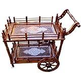 Shilpi Sheesham Wood Handmade Wheel Decor Service Trolley / Wooden Kitchen Tools Storage Service Trolley