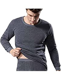 Evedaily - Homme Ensemble de Sous-Vêtement Thermique (Maillot de Corps Manches Longues et Caleçon Long ) Chaud Épais Pour Hiver Thermal Underwear