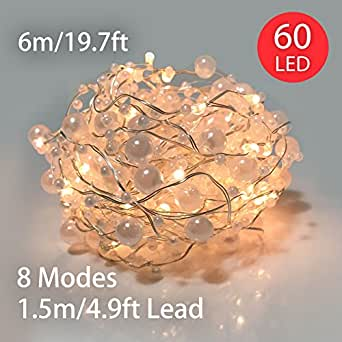 String Lights Battery Operated 60 LED 6M Pearl Fairy Lights with 8 Functions & Timer for Outdoor Indoor Christmas Halloween Wedding Home Decoration Warm White