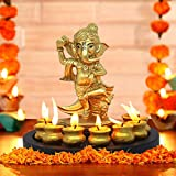 TIED RIBBONS Lord Ganesha Statue With Matki Candle And Wooden Tray For Home, Office, Diwali Decoration And Gifts(17 M X 19 Cm, Golden)