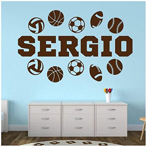 Benutzerdefinierte Sport Name Vinyl Wandtattoo Sport Kinderzimmer Dekor Teen Name Wandaufkleber für Jungen Zimmer Basketball Fußball Decals57cm (Zimmer Dekor Teen)