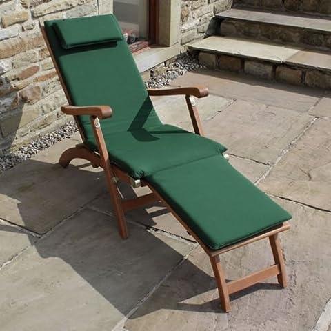 Trueshopping Dark Green Luxury Cushion for Garden Patio Steamer Lounger