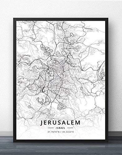 ZWXDMY Leinwand Bild,Israel Jerusalem Stadtplan Drucken Schwarz Und Weiß Einfach Text Canvas Poster Malerei Wandbild Rahmenlose Wohnzimmer Office Home Dekoration, 70 X 100 cm
