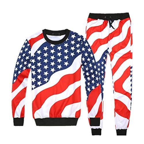 American Flag Sweatshirt (Männer, Frauen American Flag Pattern Print Anzüge Set Hip Hop Jogger O-Neck Sweatshirts + Pants Trainingsanzug 01 XL)