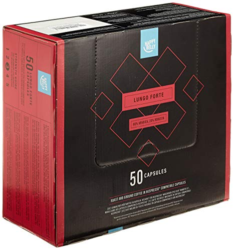 Amazon-Marke: Happy Belly Lungo Forte Gemahlener UTZ Röstkaffee in Kapseln (kompostierbar), geeignet für Nespresso-Maschinen, 50 Kapseln