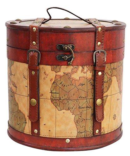 Hutkoffer 27cm Hutschachtel Hutbox Holz Antik-Stil Hut Box Schachtel Koffer Deko