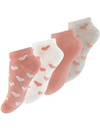Lot de 8 paires de socquettes pour fille - design: avec des rayures ou uni, avec le coeur - fille