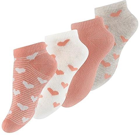 Lot de 8 paires de socquettes pour fille - design: avec des rayures ou uni, avec le coeur - fille - taille 27-23