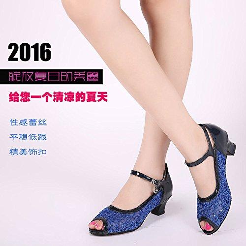 DGSA Square Dance Shoe_Latin Dance Shoe weiblichen Erwachsenen gaze Sandalen mit Leistung Silber innen Bgf