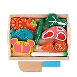 Binoster Magnétique En Bois de Coupe Fruits Légumes Alimentaire Jeu Jouet Ensemble À Hacher Jeu D'apprentissage Alimentaire Préparation Kit Pour Les Tout-petits Enfants prétendre jouer cuisine