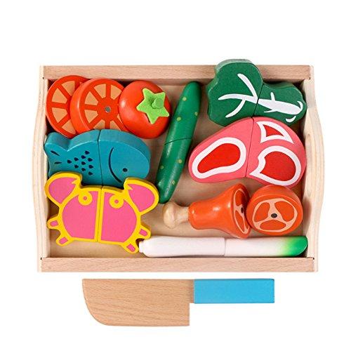 Kleinkind Kostüm Food - Binoster Magnetisch Holzschnitt Früchte, Gemüse Essen Spiel Spielzeug-Set Hacken Spiel Essen Lernen Prep Kit für Kleinkinder Spielküche vorgeben