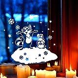Fensterbild Eulen & Waschbär Fensterbilder Fensterdeko Winterlandschaft 40x33cm + Sterne & Schneeflocken selbstklebend für Kinder M2255 ilka parey wandtattoo-welt®