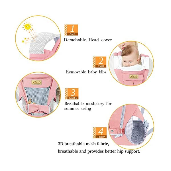 Viedouce Baby Carrier Ergonomic for Newborn,Pure Cotton Front Back Child Carrier with Detachable Hood Multi-Position Soft Backpack Carrier,Complete Safety Protection(0-48 Months) (Pink) Viedouce 【More environmentally friendly】-Baby carrier has high quality pure cotton fabric with 3D breathable mesh take care of your health and the health of your baby; The detachable sun visor and wind cap provide warmth in the winter and freshness in the summer. At the same time, the zipper buckle is designed for easy disassembly and cleaning. 【More ergonomic】 -Baby carrier for newborn has an enlarged arc stool to better support the baby's thighs, the M design that allows the knees to be higher than the buttocks when your baby sits, is more ergonomic. 【Comfort and safety】 - The area near the abdomen is filled with a soft and thick sponge, reduces the pressure on the abdomen and gives more comfort to you and your baby. High quality professional safety buckles and attach, shock absorbing pads, are equipped to protect your baby. 6