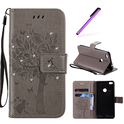 Huawei P8 Lite 2017 Hülle Lederhülle,Huawei P8 Lite 2017 Hülle Flip Wallet Leder Case für Huawei Honor 8 Lite,Huawei P8 Lite 2017 Hülle Silikon,EMAXELERS Huawei P8 Lite 2017 Hülle Rose,Huawei P8 Lite 2017 Hülle Glitzer Bling Diamant Wünschen Baum Muster PU Leder Ledercase Flip Tasche Wallet Schutzhülle Etui Tasche Handytasche Hülle für Huawei P8 Lite 2017,Gray Wishing Tree with Diamond (Blue Light Leder-taschen)