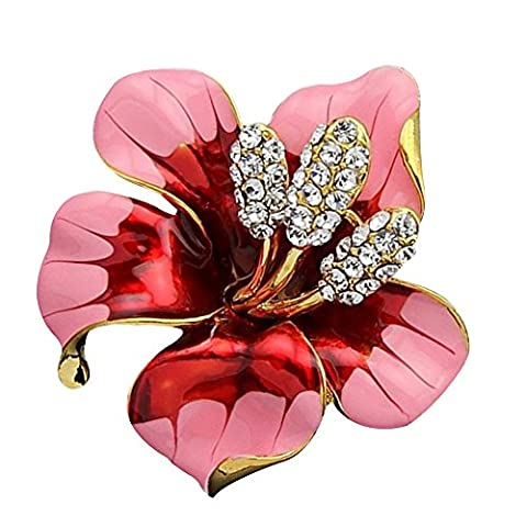 Contever® Elegent Crystal Flower Shape Brooch and Pin for Lady (Rose)