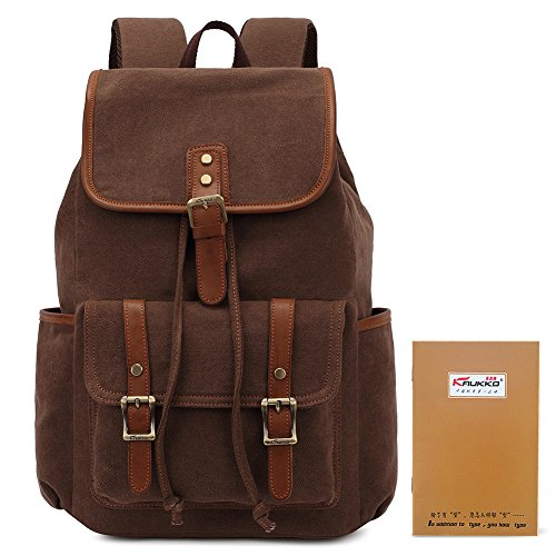 KAUKKO Herren Segeltuch Jahrgang Laptoptasche Reise Rucksack mit 27×21×48 cm Khaki Kaffee01