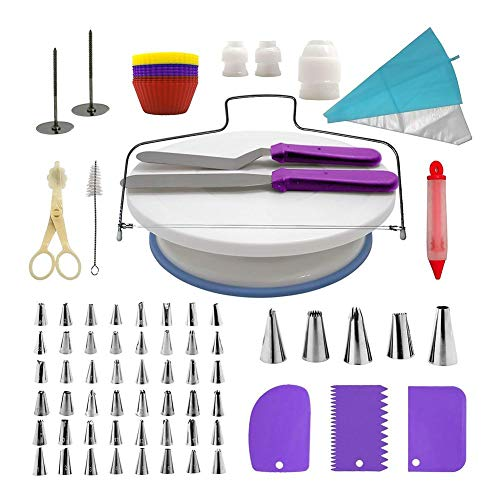heresell 42 Pieces Cake Decorating Supplies Kit with 48 Stainless Steel Baking Supplies Icing Tips, 2 Silicone Pastry Bags 25 Disposable Bag Baking Supplies Frosting Tools Set for Cupcakes Cookies