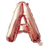 Glanzzeit® 40cm Rosa Gold Luftballons Buchstaben A bis Z Zahlen 0 bis 9 Verlobung Hochzeit Babyparty Jubiläum Geburtstag Party Weihnachten Fest Deko Folienballons (Buchstabe A)