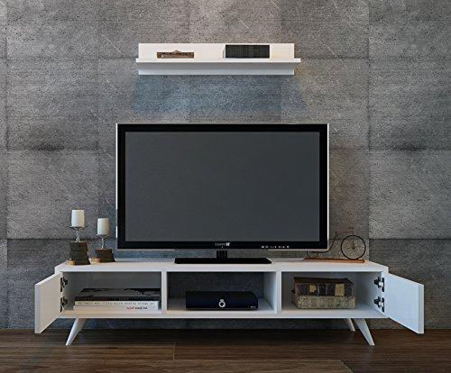 Aspen set soggiorno bianco parete attrezzata mobile tv porta con mensola da muro un design - Mobile tv a parete ...