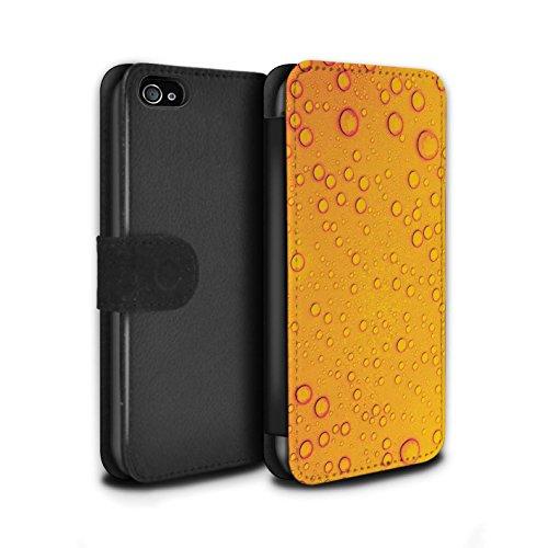 Stuff4 Coque/Etui/Housse Cuir PU Case/Cover pour Apple iPhone 4/4S / Violet/Orange Design / Gouttelettes Eau Collection Orange/Jaune