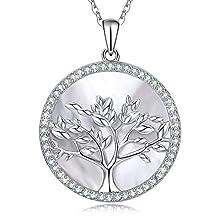 MEGA CREATIVE JEWELRY-Albero della Vita Collana Ciondolo 925 Argento Pendente Cristalli Swarovski Regalo Donna Gioielli