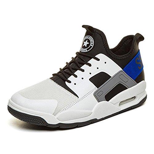 Sneaker Herren Jungen Basketballschuhe Hohe Sneakers Atmungsaktiv Ausbildung Outdoor Freizeit Sport Turnschuhe , Weiß , EU46/UK11.5-12