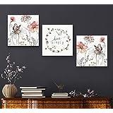 Set of 3 Modern Floral tableau, 40x40 per piece, Prints on wood - 2725516257530