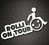 UUSticker Rolli on Tour Aufkleber 187x90mm Rolli Rollstuhlfahrer Behinderten Auto
