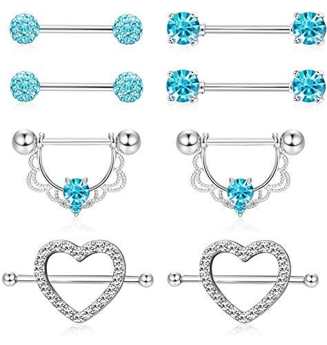5337aa950 Adramata 4 pares de acero inoxidable Pezón Pezón Anillo CZ Opal Barbell  Body Piercing Jewelry 14G