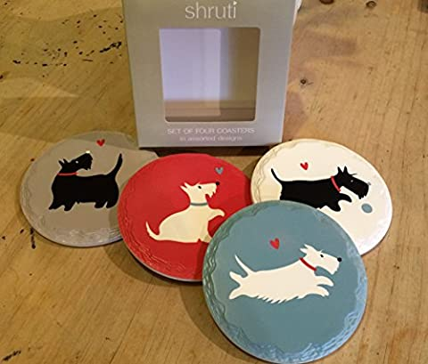 4 x Scottie Dog Vintage Coaster Ceramic Drinks Table Mat