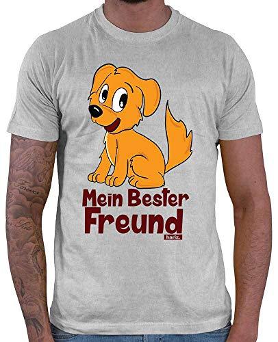 HARIZ Herren T-Shirt Mein Bester Freund Hund Tiere Zoo Plus Geschenkkarten Hell Grau S