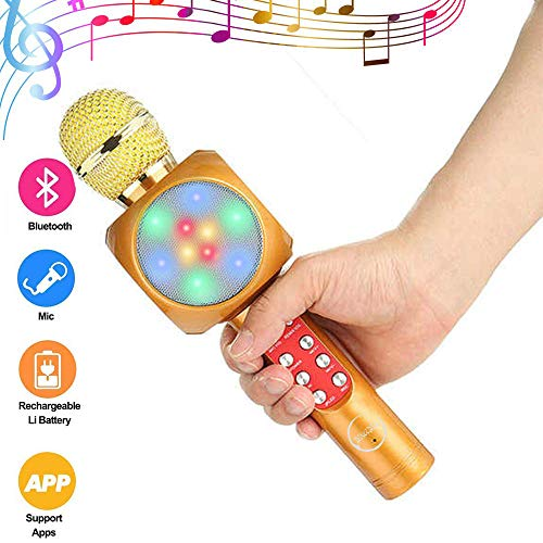 ALEILA Drahtlose Bluetooth Karaoke, Mikrofon mit tragbaren Lautsprecher Voice Recorder LED Licht USB TF Karte Slot FM Radio Indoor Musik DJ KTV,Yellow (Fm-radio Mit Maschine Karaoke)