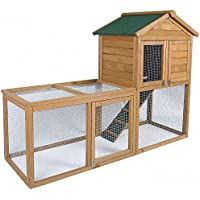 EUGAD Hasenstall Kaninchenstall Kaninchenkäfig Hasenkäfig Kleintierstall Massivholz 2-Etagen 0038HT