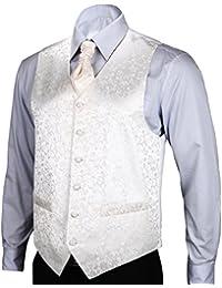 Hisdern Hombres de Floral Jacquard chaleco chaleco traje Set 6x l (en el pecho Tamaño 50') color blanco