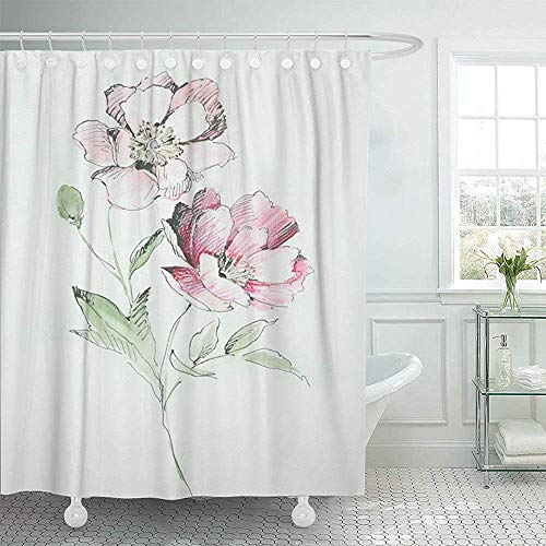 Duschvorhänge, Fabric Shower Curtain with Hooks Watercolor Abstract Graceful Flowers The Leaves and Design Blossom Computer Graphics Decorative Bathroom Treated to Resist Deterioration by Mildew -