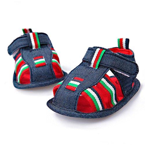 Pour 0-18 mois Bébé,Transer ® Mignon bébé nouveau-né fille garçon sandales anti-dérapant doux unique Toddler Sneaker Bleu foncé