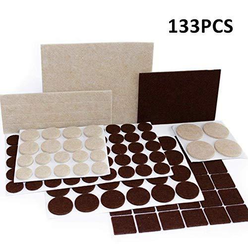 Ecoki Premium Filzgleiter Set,9 verschiedenen selbstklebenden Stickern aus Filz für Möbel,Stühle und Tische (Braun/Beige) - MEHRWEG 4in Square Platte