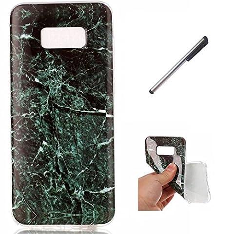 Coque Samsung Galaxy S 8PLUS marbre TPU ultra-mince transparente silicone souple Coquille.DECHYI. - vert foncé+ Stylus capacitif