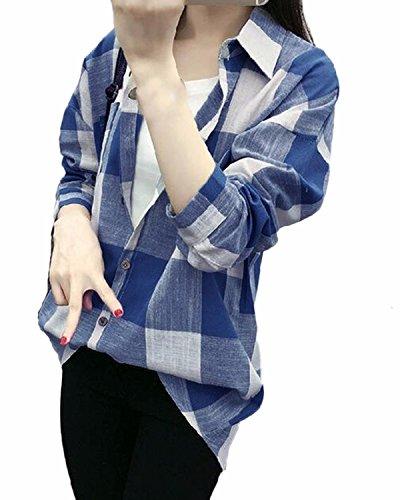 ZANZEA Femme Casual Chemise Manches Longues Carreaux Hoodie Longue Coton Blouse à Capuche Tunique Bleu Ciel