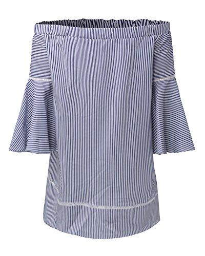 StyleDome Femme Chemise Tunique Rayuré Col Bateau Epaule Nue Bustier Manches Longue Lotus Casual Tops Blouse Shirt Bleu Froncé