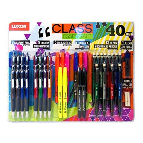 Luxor Schreib-Set, Kugelschreiber, Textmarker, Permanentmarker, Druckbleistifte, 40 Stifte insgesamt