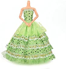 iDream Beautiful Elegant Multi-Layer Handmade Weeding Gown Dress Fashion Cloth for Doll (Green)