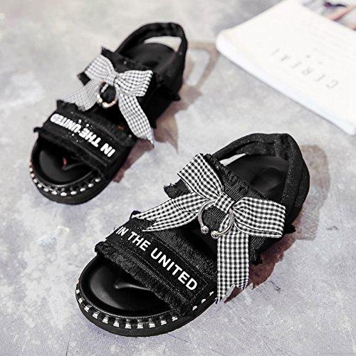RUGAI-UE Sandali Estate suole scarpe da spiaggia studenti piatto farfalle dita di rugiada Calzature Donna Black