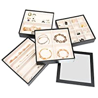 JackCubeDesign Set of 4 Stackable Leather Jewellery Tray with Mirror Cover Earring Necklace Bracelet Ring Organiser Display Storage Box(Black, 18 x 18 x 17 cm)- :MK409A