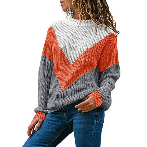 (Vectry Damen Mode Rundhals Farbblock Langarm Strickpullover Tops Pullover Jumper Shirts Tops Oberteile Blusen Tuniken)